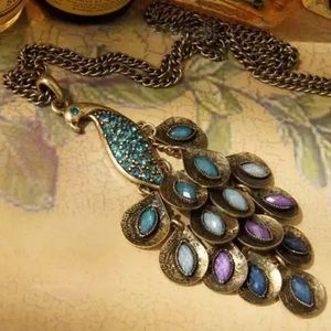Vintage Peacock Pendant Necklace Oversized NWT